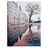 Prague street scene Multicolour Canvas art (H)650mm (W)480mm