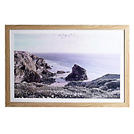 Blissful beach Multicolour Framed print (H)600mm (W)900mm