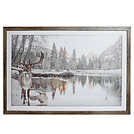 Winter stag White Framed print (H)450mm (W)650mm