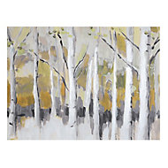 Woodland Ochre Canvas art (H)400mm (W)550mm