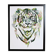 Floral tiger Green Framed print (H)500mm (W)400mm