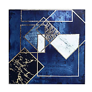 Midnight geometric Navy Canvas art (H)400mm (W)400mm