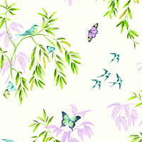 Arthouse Vintage Halcyon days Cream Birds, butterflies & trees Glitter effect Smooth Wallpaper