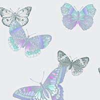 Arthouse Vintage Mariana Lavender Butterflies Glitter effect Smooth Wallpaper