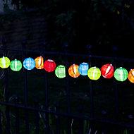 Smart Solar Paper lantern Solar-powered Warm white 10 LED Outdoor String lights
