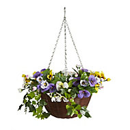 Smart Garden Multicolour Pansy artificial Hanging basket, 30cm