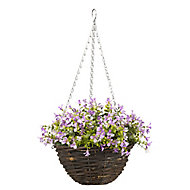 Smart Garden Purple Pansy artificial Hanging basket, 25cm