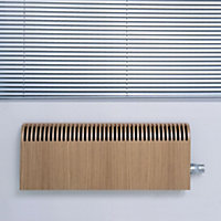 Jaga Knockonwood Horizontal Wooden cased radiator Oak veneer (H)300 mm (W)1000 mm
