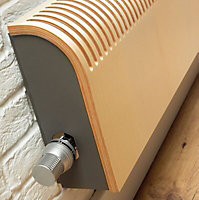 Jaga Grey Stainless steel effect Straight Thermostatic radiator valve