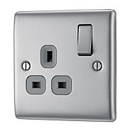British General 13A Brushed steel Switched Single Socket
