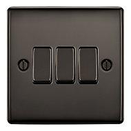 British General 10A 2 way Polished black nickel effect Triple Light Switch