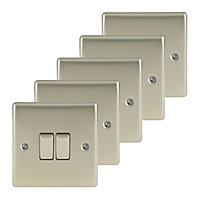 Nexus 10A 2 way Nickel effect Double Light Switch, Pack of 5