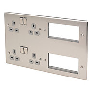 British General 13A Stainless steel effect 4 gang Combination plate