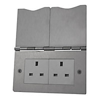 British General 13A Stainless steel effect Unswitched floor socket