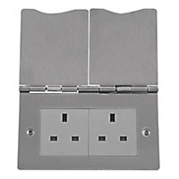 British General 13A Stainless steel effect 2 gang Unswitched floor socket
