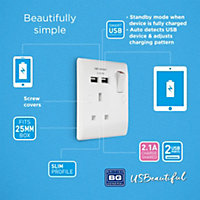 British General White Single USB socket, 2 x 2.1A USB