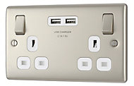British General Nickel effect Double USB socket, 2 x 2.1A USB