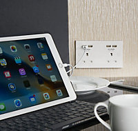 British General White Double USB socket, 4 x 4.2A USB