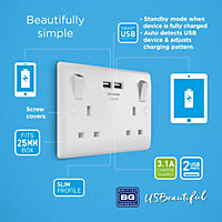 British General White Double USB socket, 2 x 3.1A USB