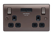 British General Black Nickel effect Double USB socket, 2 x 3.1A USB