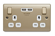 British General Nickel effect Double USB socket, 2 x 3.1A USB