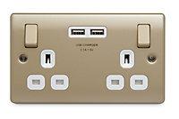 British General Nickel effect Double USB socket, 2 x 3.1A USB