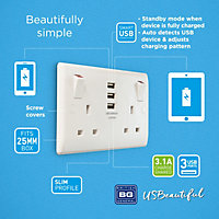 British General White Double USB socket, 3 x 3.1A USB
