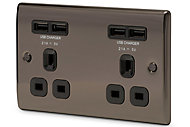 British General Black Nickel effect Double USB socket, 4 x 4.2A USB