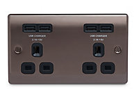 British General 4.2A Black Nickel effect USB socket