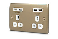 British General Nickel effect Double USB socket, 4 x 4.2A USB
