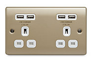 British General 4.2A Nickel effect USB socket