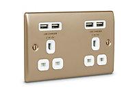 British General 4.2A Nickel effect USB socket