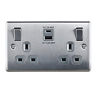 British General 13A Brushed Switched Double Socket with USB Charger & 2x USB Outputs (A+C)
