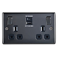 British General 13A Polished Switched Double Socket with USB Charger & 2x USB Outputs (A+C)