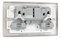British General 13A Nickel effect Double Switched Socket