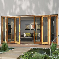 Glazed Golden Oak LH & RH External Folding Patio Door set, (H)2094mm (W)4194mm