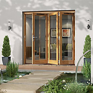 Glazed Golden Oak RH External Folding Patio Door set, (H)2094mm (W)2094mm