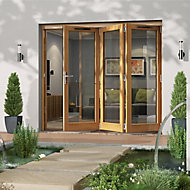 Jeld-Wen Canberra Clear Glazed Golden Oak RH External Folding Patio Door set, (H)2094mm (W)2394mm