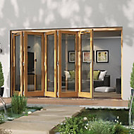 Jeld-Wen Canberra Clear Glazed Golden Oak LH External Folding Patio Door set, (H)2094mm (W)3594mm