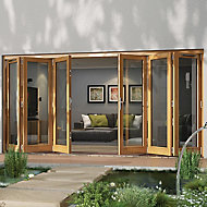Glazed Golden Oak LH & RH External Folding Patio Door set, (H)2094mm (W)4794mm