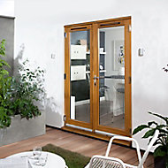 Canberra 1 Lite Glazed Laminated Golden Oak External French Door set, (H)2105mm (W)1205mm