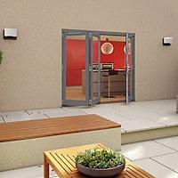 Glazed Pre-painted Grey Timber RH External Folding Patio Door set, (H)2094mm (W)2394mm