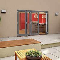 Glazed Pre-painted Grey Timber RH External Folding Patio Door set, (H)2094mm (W)2994mm