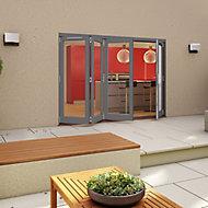 Glazed Pre-painted Grey Timber LH External Folding Patio Door set, (H)2094mm (W)3594mm