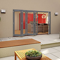 Glazed Pre-painted Grey Timber RH External Folding Patio Door set, (H)2094mm (W)2994mm