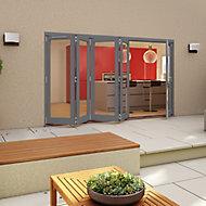 Glazed Grey Timber LH External Patio Door set, (H)2094mm (W)3594mm