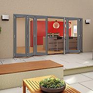 Glazed Grey Timber LH & RH External Patio Door set, (H)2094mm (W)4794mm