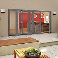 Glazed Grey Timber RH External Patio Door set, (H)2094mm (W)4794mm