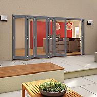 Glazed Grey Timber LH External Patio Door set, (H)2094mm (W)4194mm