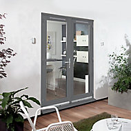 1 Lite Glazed Grey Hardwood External French Door set, (H)2094mm (W)1494mm